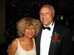 Tina Turner Tribute Artist Luisa Marshall and Lenny Wilkins at her performance in Seattle. Lenny is a 3 time inductee of the Naismith Memorial Basketball Hall of Fame.