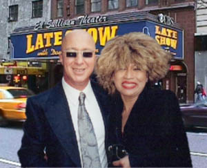 Tina Turner Tribute Artist Luisa Marshall with Paul Schaeffer of The Late Show with David Letterman, New York City May 2003.