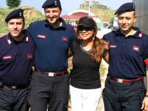 Tina Turner Tribute Artist, Luisa Marshall's outstanding performance in Sarajevo was enough for these Italian Peacekeepers to stop their tour bus from leaving just to have a picture with her.